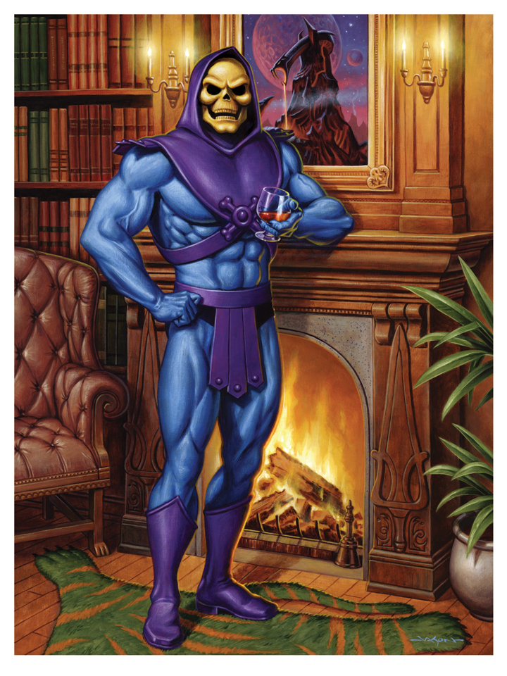 Skeletor fireplace giclee